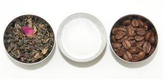 Naturligt te, kaffe och socker Arkivfoton