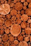 Naturligt träjournalsnitt och staplat i högen som avverkas av den logga timmerbranschen, Royaltyfri Fotografi