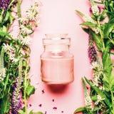 Naturligt växt- begrepp för skönhetsmedel för hudomsorg Glass krus med kräm- och nya örter och blommor på rosa bakgrund, bästa si arkivfoto