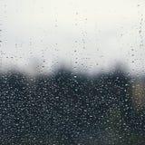 Naturligt vatten tappar på fönsterexponeringsglas med grön bakgrund royaltyfri fotografi