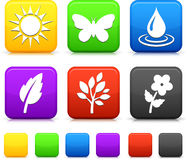 Naturmiljösymboler på fyrkantiga knappar Arkivfoto
