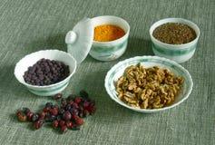 Naturmort eet voor gezondheid royalty-vrije stock afbeelding