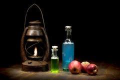 Naturmorte рождества с масляной лампой Стоковое фото RF