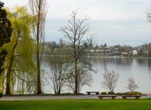 Naturpark nahe dem See Stockfotos