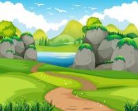 Naturplats med att fotvandra spåret och sjön vektor illustrationer