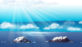 Naturplats med havet på dagen Royaltyfri Bild