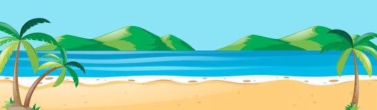Naturplats med kokospalmer på stranden stock illustrationer