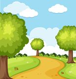 Naturplats med träd i parkera royaltyfri illustrationer