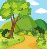 Naturplats med träd och berg stock illustrationer