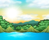 Naturplats med träd och sjön vektor illustrationer