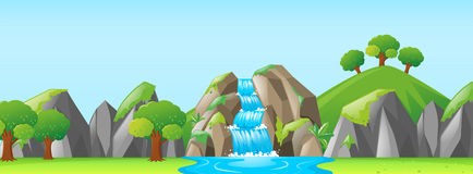 Naturplats med vattenfallet och berg vektor illustrationer