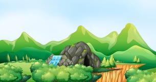 Naturplats med vattenfallet och grottan royaltyfri illustrationer