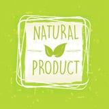 Naturprodukt mit Blatt unterzeichnen herein Rahmen über grünem altem Papier-BAC Stockfoto