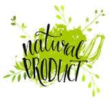 Naturproduktaufkleber - handgeschriebenes modernes Stockfotografie