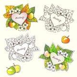 Naturrahmen mit Apfelblumen und -blättern. Lizenzfreie Stockbilder
