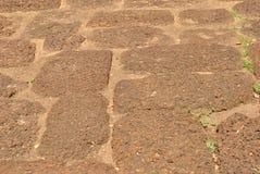 Natursteingehweg im Garten Stockfotografie