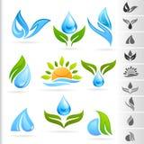 Natursymbol- och symbolsserie - 1 vatten Arkivfoto