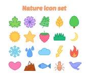 Natursymbolsuppsättning med översikten, miljö- vektorsymboler för lägenhet Vektor Illustrationer