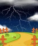 Naturszene mit Blitz und Regen Stockfoto