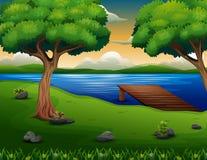 Naturszene mit hölzerner Anlegestelle auf dem Seehintergrund stock abbildung
