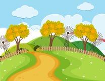 Naturszene mit Straße und Bäumen Lizenzfreies Stockbild