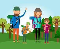 Naturturism Familj på skogillustrationen vektor illustrationer