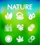 Naturvektorsymboler royaltyfri illustrationer