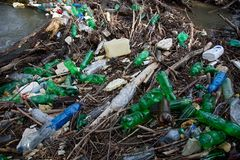 Naturverschmutzung von Plastikflaschen Lizenzfreies Stockbild
