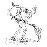 Naturwissenschaftler, Entomologeskizze vektor abbildung