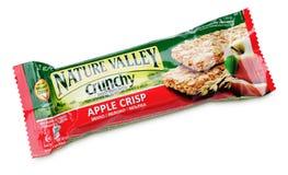 Natury granola Dolinny Crunchy Jabłczany chrupiący bar odizolowywający na bielu Fotografia Royalty Free