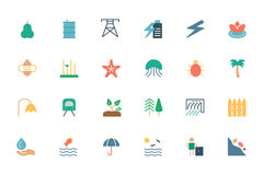 Natury i ekologii Barwione ikony 5 Zdjęcia Stock