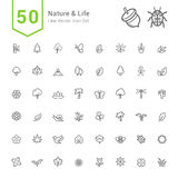 Natury i życia ikony sety 50 Kreskowych Wektorowych ikon Zdjęcia Royalty Free