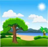 Natury ilustracja z zielonym lasem, spokojnym jeziorem i górami, royalty ilustracja