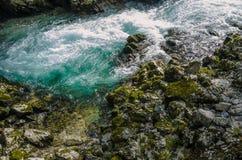 Natury jesieni krajobraz Siklawa przy Soteska Vintgar Slovenia Obrazy Royalty Free