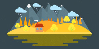 Natury jesieni krajobraz Wektorowa ilustracja w płaskim projekta stylu Obraz Royalty Free