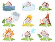 Natury katastrofy szkoda Pożarniczego wulkan wody wiatru zniszczenia drzewnego tsunami kreskówki wektorowi obrazki ilustracji