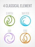 Natury 4 Klasyczni elementy w okrąg kreskowej granicy abstrakcjonistycznej ikonie podpisują Woda, ogień, ziemia, powietrze 10 tło Obraz Stock