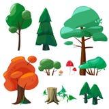 Natury kreskówki elementy Gemowa ui kolekcja drzewo krzaków gałąź korzeni kamieni liści konopiane kałuże wietrzeje wektor ilustracja wektor