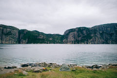 Natury lata lanscape góry Lysefjord w Norwegia z obraz royalty free