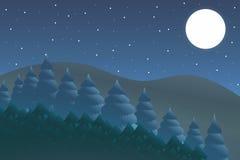 Natury noc Plenerowy projekta pojęcie Piękny krajobraz czujka ilustracji