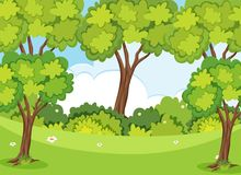 Natury scena z drzewami i gazonem ilustracji