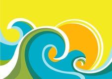 Natury seascape plakat z morza słońcem i fala. Vect ilustracji