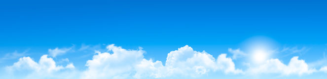 Natury tło z niebieskim niebem i chmurami ilustracja wektor