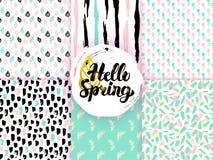 Natury wiosny Ostrzy Bezszwowi wzory Obraz Stock