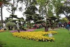 Natuurlijk bloempark van Genua Nervi stock foto