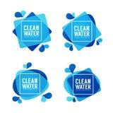Natuurlijk bronwater, vectorembleem, etiketten en stickersmalplaatje Stock Foto
