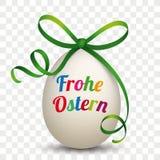 Natuurlijk Ei Groen Lint Frohe Transparante Ostern royalty-vrije illustratie