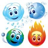Natuurlijk elementenwater, wind, aarde en brand Royalty-vrije Stock Afbeeldingen