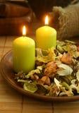 Natuurlijk kruideningrediënt in houten kom royalty-vrije stock foto's
