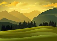 Natuurlijk landschap bij schemer met bergen en heuvels Vector illustratie vector illustratie